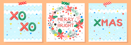 Christmas and New Year typography.Set of holidays cards with greetings,wreath,snowflakes and stars.Seasons greetings perfect for prints, flyers,cards,invitations and more.Vector illustration.