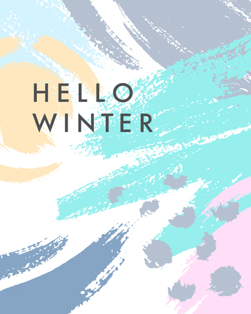 Trendy winter poster with hand drawn shapes and textures in soft pastel colors.Unique graphic design perfect for prints,flyers,banners,invitations,special offer and more.Modern vector illustration.  イラスト・ベクター素材