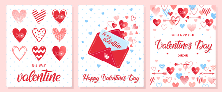 Collection of creative Valentines Day cards.Hand drawn lettering with hearts,arrows and love letter.Romantic illustrations perfect for prints,flyers,posters,holiday invitations and more.
