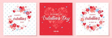 Collection of creative Valentines Day cards.Hand drawn lettering with hearts and flowers.Romantic illustrations perfect for prints,flyers,posters,holiday invitations and more.Valentines illustrations. Stock Illustratie