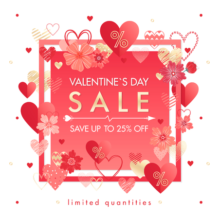 Valentines Day special offer banner with different hearts and golden foil elements.Sale flyer template perfect for prints, flyers, banners, promotions, special offers and more.Vector Valentines promo.