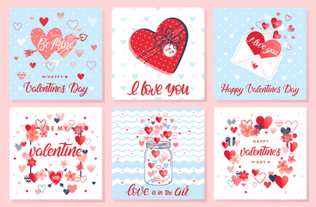 Collection of creative Valentines Day cards.Hand drawn lettering with hearts,arrows,maison jar,love letter and flowers.Romantic illustrations perfect for prints,flyers,posters,holiday invitations.