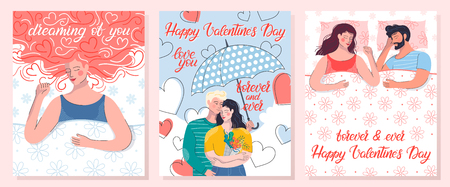 Collection of romantic illustrations with couple in bed,dreaming woman and couple under umbrella.Perfect for greeting cards, prints,flyers,posters,invitations and more.Valentines day cards concept.