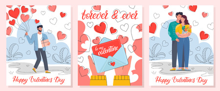 Collection of romantic illustrations with love letter,hugging couples and man holding balloons.Cute cartoon characters.Perfect for greeting cards, prints,flyers,posters,invitations and more. Illustration