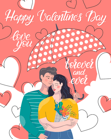 Hugging couple in love under umbrella.Cute cartoon characters.Romantic illustration perfect for greeting cards prints,flyers,posters,invitations and more.Valentines day card concept. Illustration