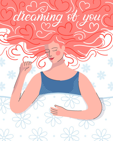 Young woman dreaming in bed.Hearts background.Cute cartoon character.Romantic illustration perfect for greeting cards prints,flyers,posters,invitations and more.Valentines day card concept. Illustration