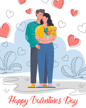 Hugging couple with hearts background.Cute cartoon characters.Romantic illustration perfect for greeting cards, prints,flyers,posters,invitations and more.Valentines day card concept.Time together.