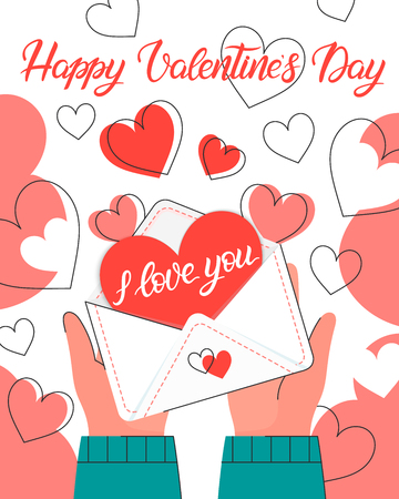 Hands holding love letter with hearts background.Romantic illustration perfect for greeting cards, prints,flyers,posters,invitations and more.Valentines day card concept.