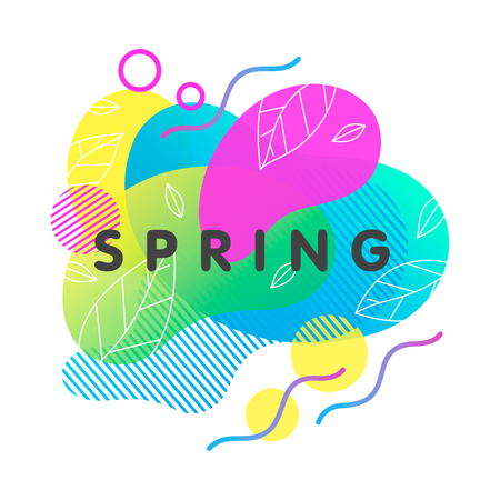 Trendy spring card with bright gradient background,tiny leaves,fluid shapes and geometric elements in memphis style.Bright abstract layout perfect for prints,flyers,banners,invitations,covers and more Illusztráció