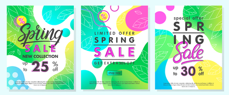Spring special offer banners.Trendy promo layouts with gradient backgrounds,fluid shapes and geometric elements in memphis style.Sale posters perfect for prints,flyers,banners,promos,special offers.