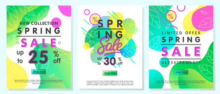Set of spring special offer banners.Trendy templates with gradient backgrounds,fluid shapes and geometric elements.Sale posters perfect for prints, flyers banners, promotional ad, special offers.