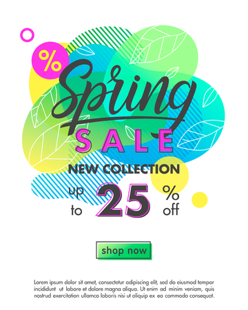 Spring sale banner.Trendy layout with bright liquid shapes,tiny leaves and geometric elements.Sale poster perfect for prints, flyers banners, promotional ad, special offers.Vector illustration. Illustration