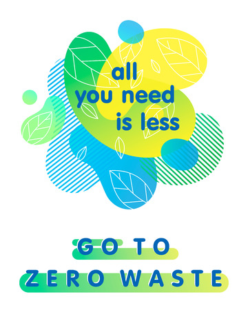 Zero waste concept with bright liquid shapes,tiny leaves and geometric elements.Fluid composition perfect for prints,logos,flyers,banners design and more.Think green.Eco-friendly lifestyle.