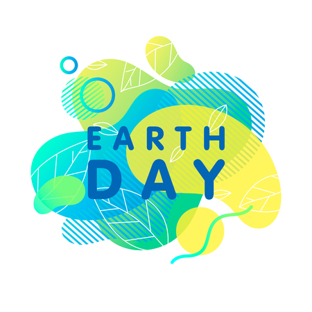 Happy Earth Day typography design.Bright liquid shapes,tiny leaves and geometric elements. Earth Day concept perfect for prints, flyers, banners design and more. Fluid shapes composition.Go green. Illustration