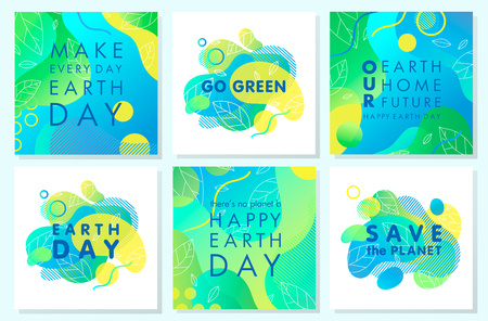 Collection of Earth Day posters with gradient backgrounds,liquid shapes,tiny leaves and geometric elements.Earth Day layouts perfect for prints,flyers,covers,banners design and more.Eco concepts. Vettoriali