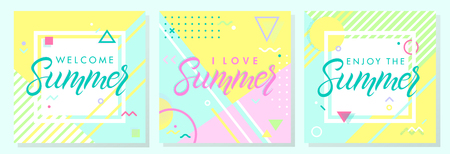 Set of summer cards in memphis style.Abstract design templates perfect for prints,flyers,banners,invitations,covers,social media and more.Welcome summer,i love summer,enjoy the summer