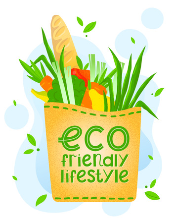 Groceries in a paper bag.Vector illustration with hand drawn lettering,groceries,vegetables,fruits,baguette.Healthy nutrition.Organic food.Live green, go to zero waste.Eco friendly lifestyle concept. Ilustracja