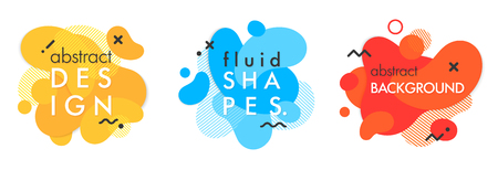 Set of trendy abstract compositions with flowing liquid shapes and geometric elements.Dynamic fluid shapes.Abstract templates perfect for prints; flyers; banners; presentations; covers; logos and more