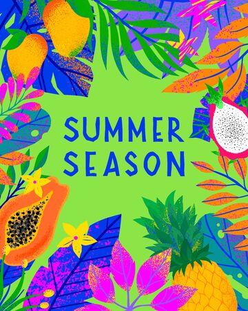Illustrazione vettoriale di estate con foglie tropicali luminose, frutti esotici e fiori. Piante multicolori con texture disegnate a mano. Sfondo esotico perfetto per stampe, volantini, striscioni, inviti, social media.