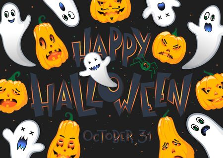 Halloween poster with lettering, angry pumpkins, ghosts and spider. Halloween design perfect for prints, flyers, banners invitations, greeting scrapbooking, social media. Vector Halloween illustration.