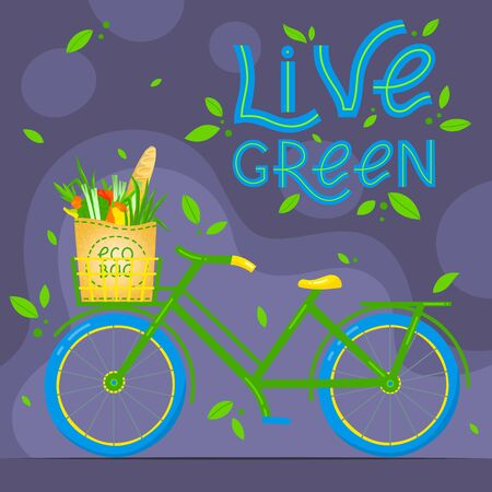 Zero waste concept.Vector illustration with lettering, eco grocery bag and bicycle. Eco friendly lifestyle. Perfect for flyers, banners, eco posters, covers, typography design. Live green, go to zero waste.