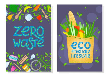 Zero waste brochure templates .Waste management concept. Layout design perfect for prints, banners, web, eco posters, flyer mockups, typography design and more. Think green, go to zero waste. Illustration