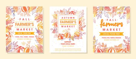Set of autumn fermers market banners with leaves and floral elements. Harvest fest design perfect for prints ,flyers, banners, invitations and more. Vector autumn illustration. Archivio Fotografico - 130039902