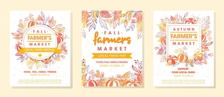 Set of autumn fermers market banners with leaves and floral elements. Harvest fest design perfect for prints ,flyers, banners, invitations and more. Vector autumn illustration. Archivio Fotografico - 130039903