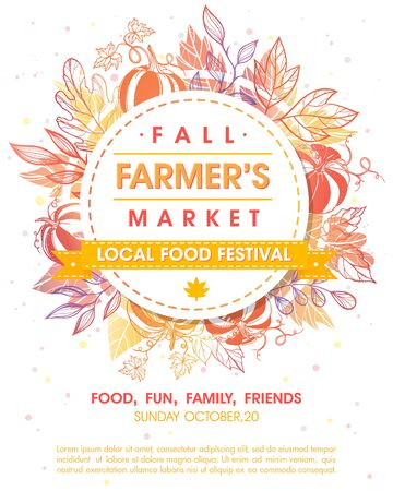 Autumn fermers market banner with leaves and floral elements in fall colors. Local food fest design perfect for prints, flyers, banners, invitations. Fall harvest festival. Vector autumn illustration.