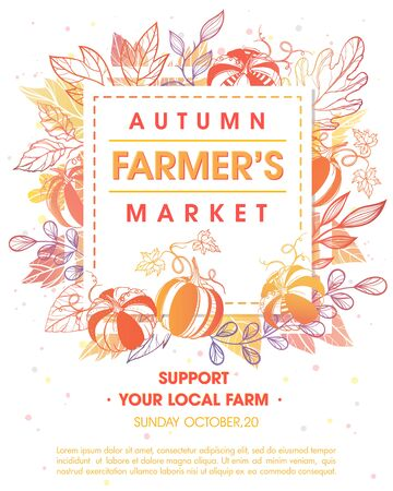 Autumn fermers market banner with leaves and floral elements in fall colors.Local food fest design perfect for prints,flyers,banners,invitations.Fall harvest festival.Vector autumn illustration. Vetores