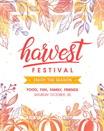 Autumn harvest festival poster with harvest symbols, leaves and floral elements in fall colors. Local food fest design perfect for prints, flyers, banners, invitations. Fall harvest festival. Vector autumn illustration. Archivio Fotografico - 130039900