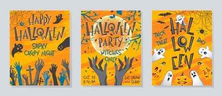 Set of Halloween posters with pumpkins,ghosts,graveyard,full moon,witch hands and bats.Halloween design perfect for prints,flyers,banners invitations,greetings.Vector Halloween illustrations. Çizim