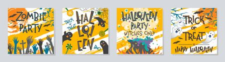 Bundle of Halloween posters with zombie hands,ghosts,witch cauldron and flying bats.Halloween design perfect for prints,flyers,banners invitations,greetings.Vector Halloween illustrations. Иллюстрация