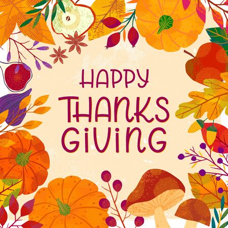 Happy Thanksgiving day poster with pumpkins,mushrooms,tree branches,apples,figs,plants,leaves,berries and floral elements.Holiday background design.Trendy autumn vector illustration.