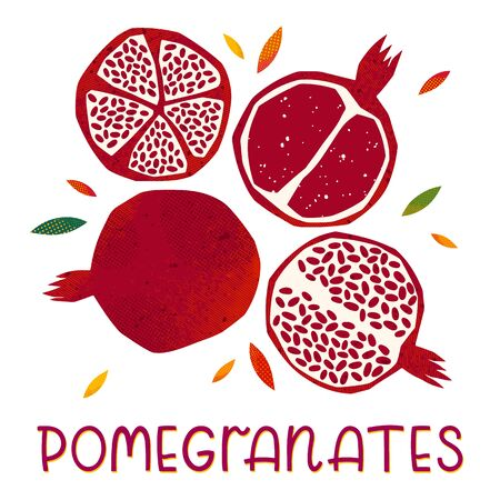 Isolated pomegranates: whole fruit and half sliced on a white background.Seasonal farm products.Healthy nutrition.Agricultural fair.Harvest season..Hand drawn vector illustrations. Ilustrace