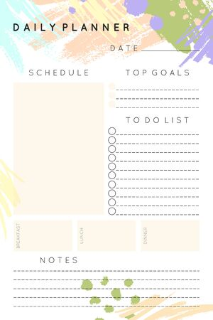Modèle de planificateur quotidien vectoriel avec des formes et des textures dessinées à la main dans des couleurs pastel. Organisateur et calendrier avec place pour les notes et liste de tâches. Style minimaliste à la mode. Design moderne abstrait.