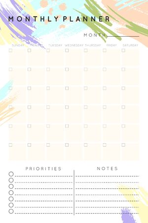Vector monthly planner template with hand drawn shapes and textures in pastel colors.Organizer and schedule with place for notes and priorities.Trendy minimalistic style.Abstract modern design.