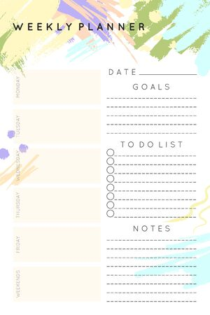 Vector weekly planner template with hand drawn shapes and textures in pastel colors.Organizer and schedule with place for notes,goals and to do list.Trendy minimalistic style.Abstract modern design.