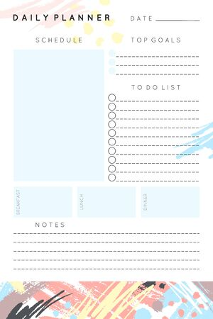 Vector daily planner template with hand drawn shapes and textures in pastel colors.Organizer and schedule with place for notes and to do list.Trendy minimalistic style.Abstract modern design. Ilustrace