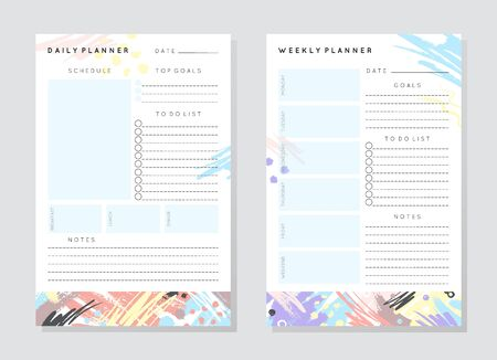 Vector planner templates with hand drawn shapes and textures in pastel colors.Organizer and schedule with place for notes,goals and to do list.Trendy minimalistic style.Abstract modern design. Ilustrace
