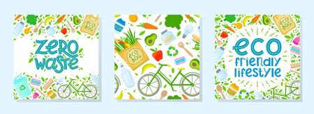 Bundle of zero waste vector illustrations and seamless pattern.Healthy lifestyle principals.Perfect for prints,flyers,banners,eco posters,typography design,social media.Live green, go to zero waste.