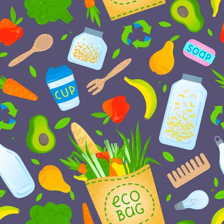 Zero waste seamless pattern.Waste management background.Layout design perfect for prints,banners,web,eco posters,flyer mockups,textile and more.Think green, go to zero waste. Ilustração