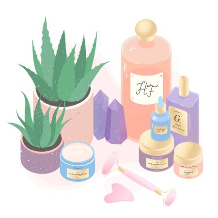Serum,creams,perfume,face massage tools and aloe vector illustration set.Beauty routine concept.Skin care treatment,wellness and ralax design elements.Home fragrances,cute hygge home decoration  Illusztráció