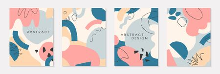 Set of modern vector collages,hand drawn organic shapes and textures in retro pastel colors.Trendy contemporary design perfect for prints,flyers,banners,invitations,branding design,covers and more Ilustracja