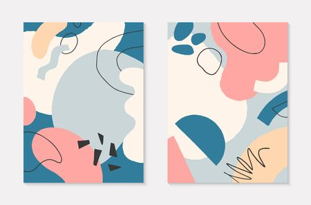 Set of modern vector collages with hand drawn organic shapes and textures in pastel colors.Trendy contemporary design perfect for prints,flyers,banners,invitations,branding design,covers and more