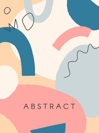 Modern vector illustration with hand drawn organic shapes and textures in pastel colors.Trendy contemporary design perfect for prints,flyers,banners,invitations,branding design,covers and more.