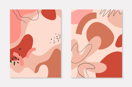 Set of modern vector illustrations with hand drawn organic shapes and textures in pastel colors.Trendy contemporary design perfect for prints,flyers,banners,invitations,branding design,covers and more Ilustracja