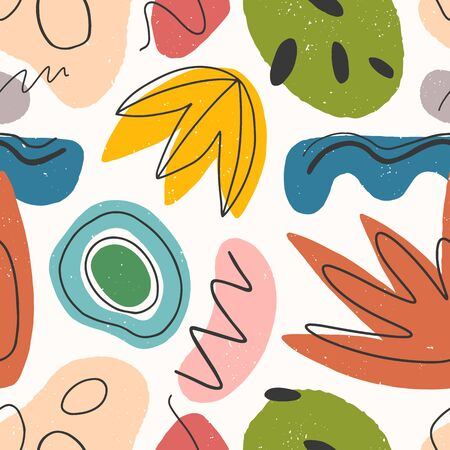 Seamless pattern with colorful hand drawn organic shapes,lines,doodles and elements.Natural forms.Vector trendy design perfect for prints,flyers,banners,fabric ,invitations,branding,covers and more.