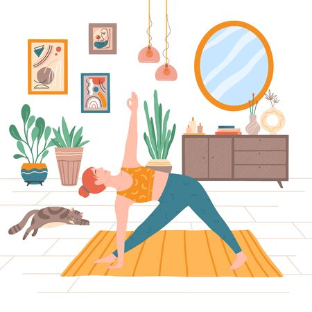 Young woman doing yoga asana at home, cat sleeping on the floor.Mindfulness practice,meditation,relaxation and physical exercise.Quarantine,stay at home.Healthy lifestyle concept. Vektorové ilustrace