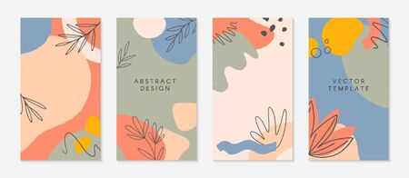 Bundle of creative stories templates with copy space for text.Modern vector layouts with hand drawn organic shapes and textures.Trendy design for social media marketing,digital post,prints,banners.
